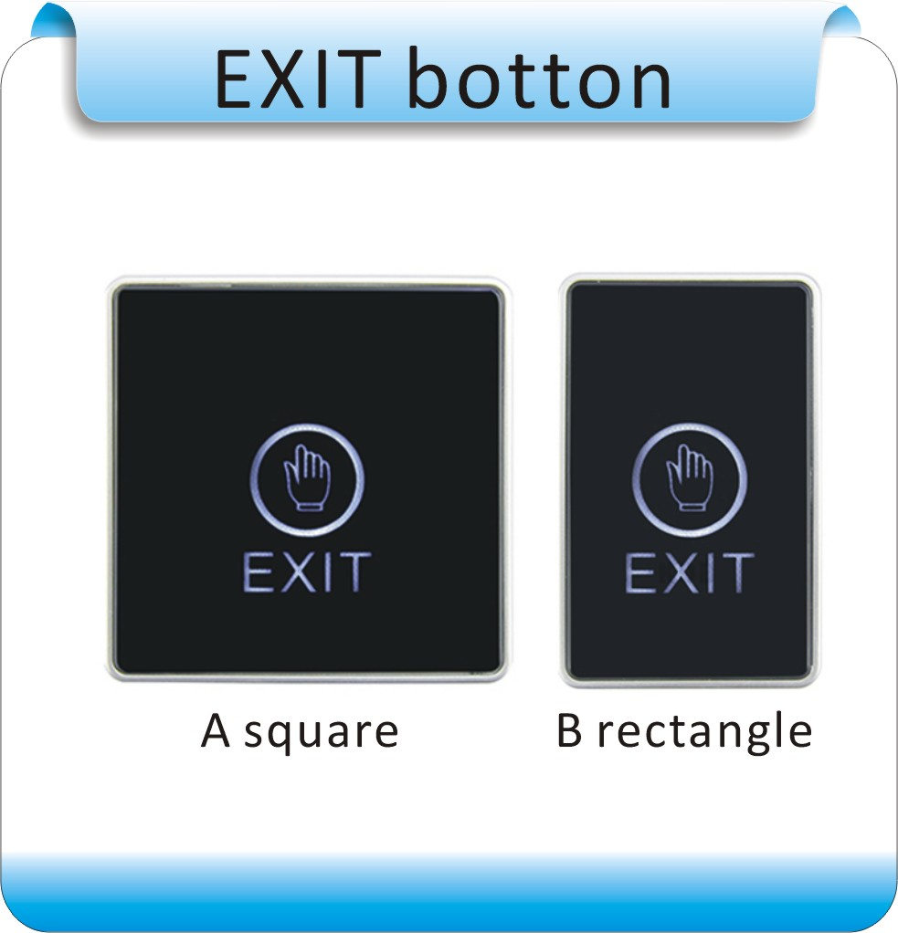 Free shipping 5pcs  NO/NC/COM output luminous touch screen door release EXIT button for access control system 10pcs no nc com stainless steel exit button with led light for door access control system night vision square metal switch