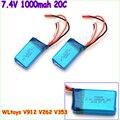 2 unids/lote 7.4 V 1000 mAh 20C batería del león para WLtoys V912 / WLtoys V262 / WLtoys V353 batería WLtoys V333 batería envío gratis
