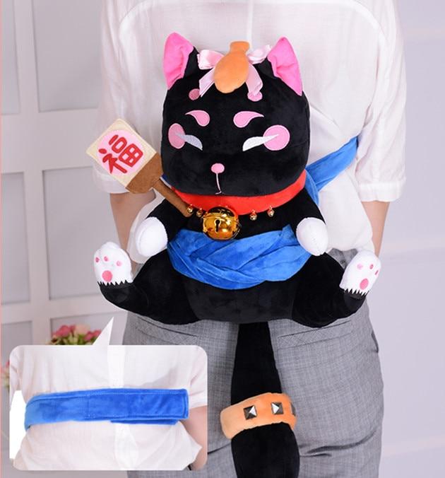 Onmyoji Nekookami chat noir sac à dos Cosplay mascotte jouet Anime peluche et peluche poupée