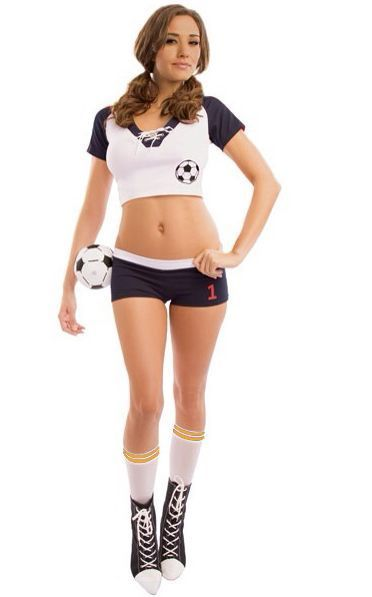 Free Shipping Most Popular Sexy Halloween Soccer Costume Women Sexy Sports Costumes