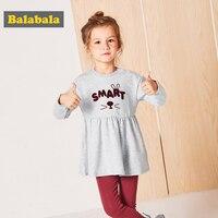 Balabala幼児女の子セットプレッピースタイル長袖コットンドレス+パンツ2ピース扮子供春服レギンス用女の子