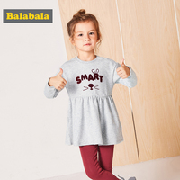 Balabala Toddler Girls Sets Preppy Style Long Sleeves Cotton Dresses Pants 2pcs Outfits Kids Spring Clothes