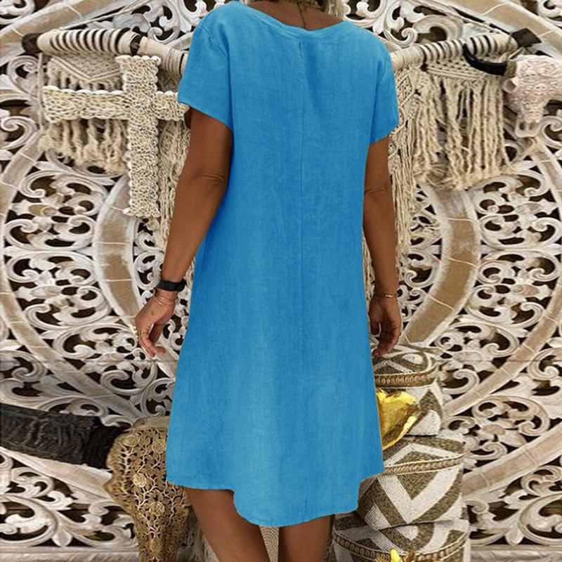 Cysincos 2019 letnia artystyczna sukienka moda damska solidna dekolt w serek z krótkim rękawem sukienka koktajlowa Casual seksowna letnia sukienka plażowa