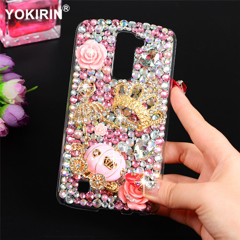 YOKIRIN Diamond Case For LG K10 5.3 Bling Luxury 3D Handmade Protective Hard PC Clear Rhinestone Back Cover For LG K10 ...