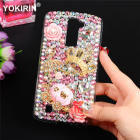 YOKIRIN Diamond Case For LG K10 5.3 Bling Luxury 3D Handmade Protective Hard PC Clear Rhinestone Back Cover For LG K10