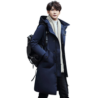 Winter Thick White Duck Down Jacket Men Long Knee Length Youth Thick Coat New Solid Color Hooded Tide Outerwear Parkas MZ1299