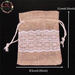 Image 4 - 8.5X11 Cm 50 Stuks Kant Natuurlijke Jute Jute Tasje Jewelry Gift Candy Bag Home Decoratie Wedding Party decoratie Supply