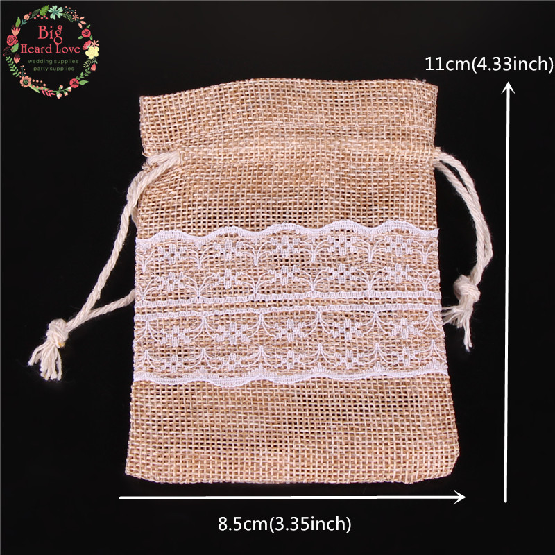 Image 4 - 8.5x11cm 50Pcs Lace Natural Jute Burlap Drawstring Bag Jewelry Gift Candy Bag Home Decoration Wedding Party Decoration Supply-in Gift Bags & Wrapping Supplies from Home & Garden