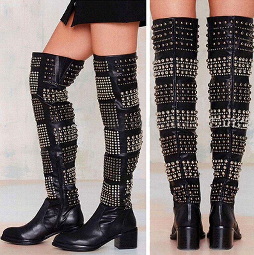 Winter Fashion Woman Boots Sexy Knee High Boots Gold Rivets Round Toe Botas High Heels Long Boots Women Casual Shoes цены онлайн