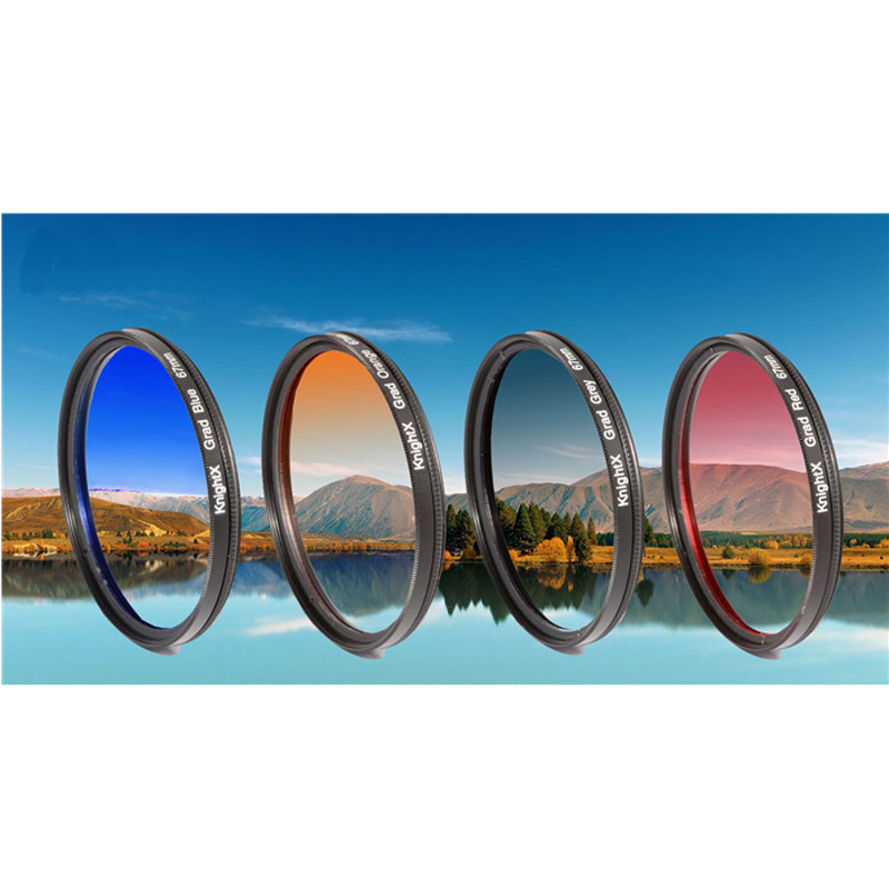KnightX 52mm 58mm 67mm 77MM Grad Red Blue Orange Color font b Lens b font Filter