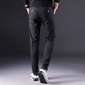 Image 5 - 2019 Pantaloni dei Nuovi Uomini di Etero Allentato Casual Pantaloni di Grande Formato Del Cotone di Modo di Affari degli uomini di Pantaloni dellabito plaid Marrone Grigio cotone