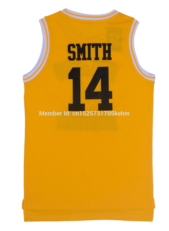 Camisas dos Homens The Fresh Prince of Bel Air Academia Jersey #14 Will Smith Preto Verde Amarelo Reminiscência Costurado Hip Hop Regatas