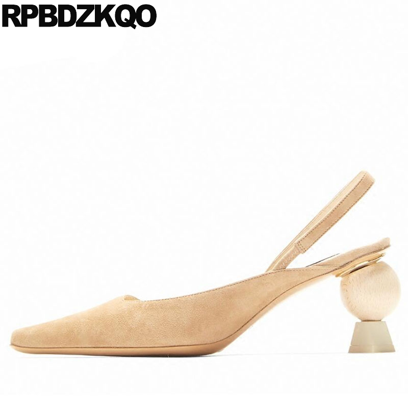 Pointed Toe 3 Inch Luxury Brand Shoes Women Suede Slingback High Heels Big  Size Novelty Strange 8a5c3a02a6d4