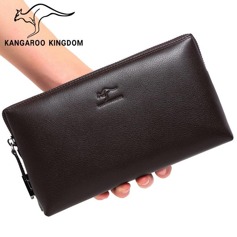 KANGAROO KINGDOM luxury genuine leather bag men brand handbag business male clutch bags цена