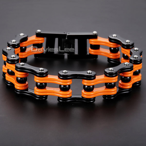 Davieslee 316L Stainless Steel Bracelet Orange Black Color Biker Motorcycle Link Boys Mens Chain Length 23.2cm HB271