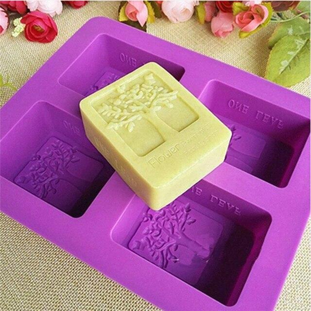 המפלגה קינוח סיליקון עובש צורת עץ 4 חור כיכר סבון אמנות עובש שוקולד עוגת דפוס בעבודת יד כלים