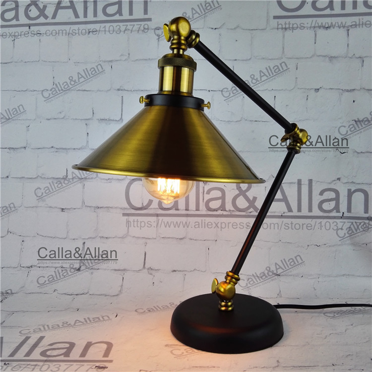 Edison bulb 60W assembled bronze iron table lighting 1 8M wire with switch and plug beside