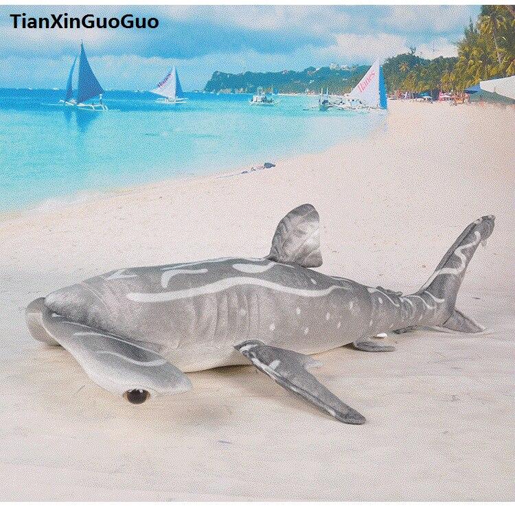 Grand 100 cm dessin animé requin doux poupée gris marteau requin en peluche jouet jeter oreiller cadeau d'anniversaire h0799
