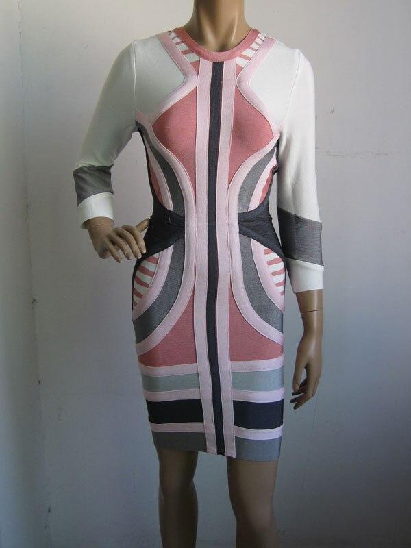 ขายส่งฤดูใบไม้ร่วงและฤดูหนาวJacquardแขนยาวดังค๊อกเทลปาร์ตี้ชุดผ้าพันแผล(H0782)-ใน ชุดเดรส จาก เสื้อผ้าสตรี บน   1