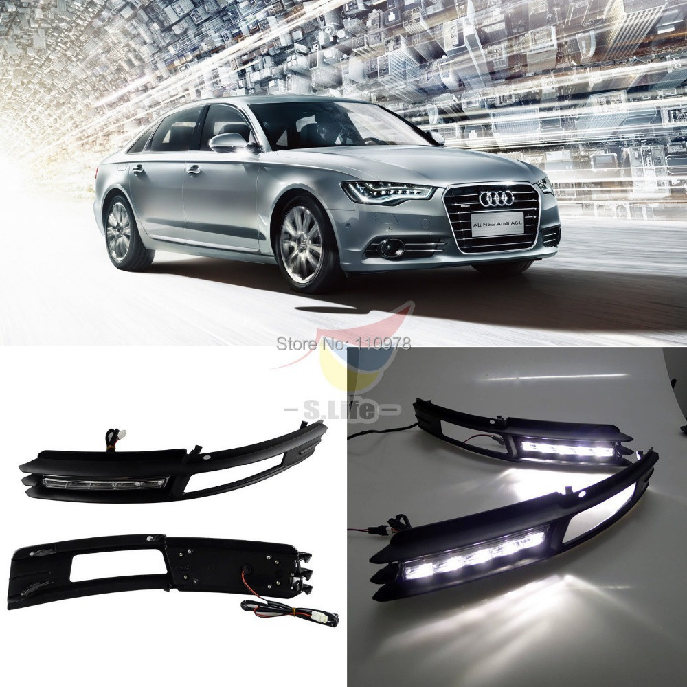 ФОТО Free Shipping 1 Pair New LED Daytime Running Light For Audi A6 A6L Driving Fog DRL 2009 2010 2011