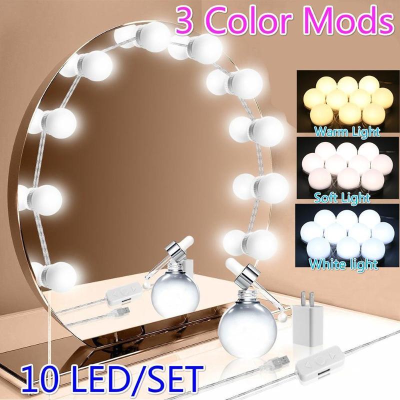 LED แต่งหน้ากระจกหลอดไฟ Hollywood Vanity ไฟ USB หรี่แสงได้ Dressing Cosmetic โคมไฟสำหรับโต๊ะเครื่องแป้ง