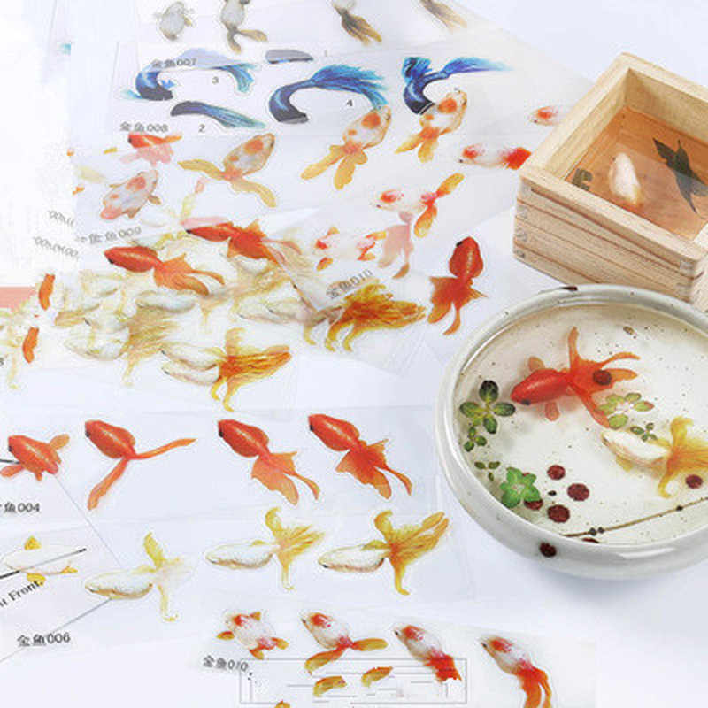 5 Pcs Blue Gold Fish UV Resin Stickers FillDecorative Sticker Fit Silicone Molds DIYMicro Landscape Scrapbooking StickersGift