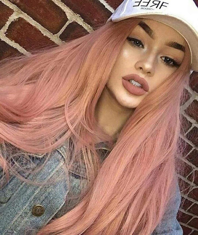 Fantasy Synthétique Avant de Lacet Perruques Rose Or Beauté Long Ondulé Pêche Rose Haute Température Fiber Avant de Dentelle Perruques Pour Femmes