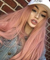 Fantasy Synthetic Lace Front Wigs Rose Gold Beauty Long Wavy Peach Pink High Temperature Fiber Lace Front Wigs For Women