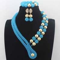 2019Latest Nigerian wedding Party Beads Women Choker Necklace/Earrings Jewlery Set Blue Crystal African beads Jewelry SetsW14005