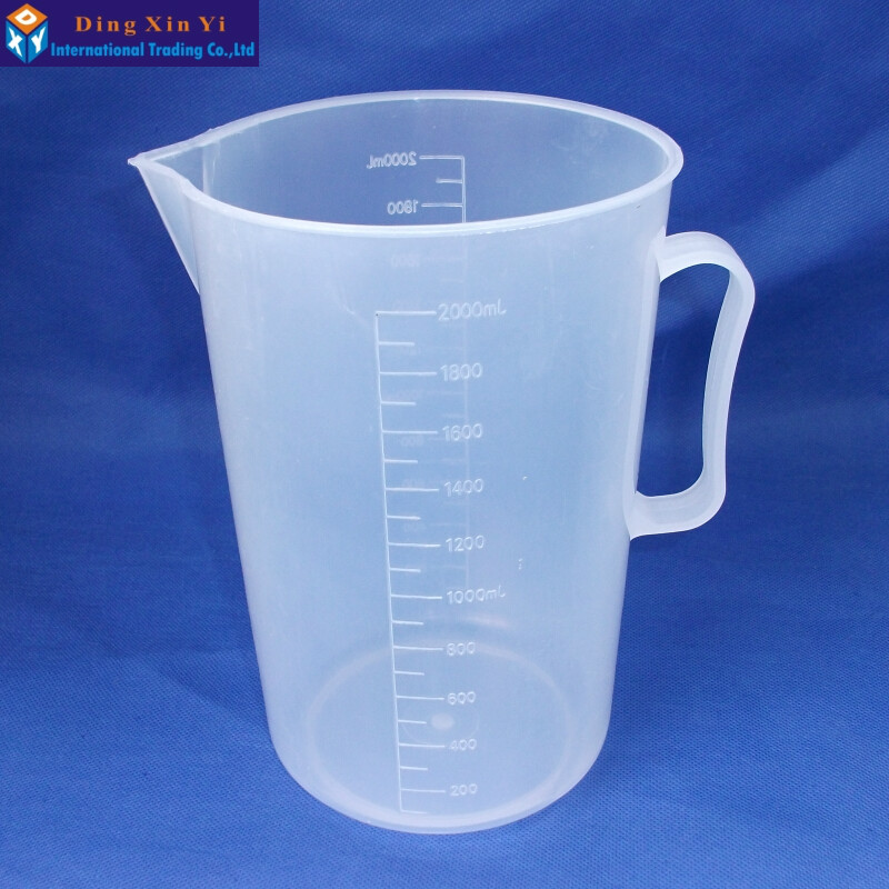 1PC 2000ml plastic beaker with handle Clear White Plastic Measuring Lab Kitchen cup1PC 2000ml plastic beaker with handle Clear White Plastic Measuring Lab Kitchen cup