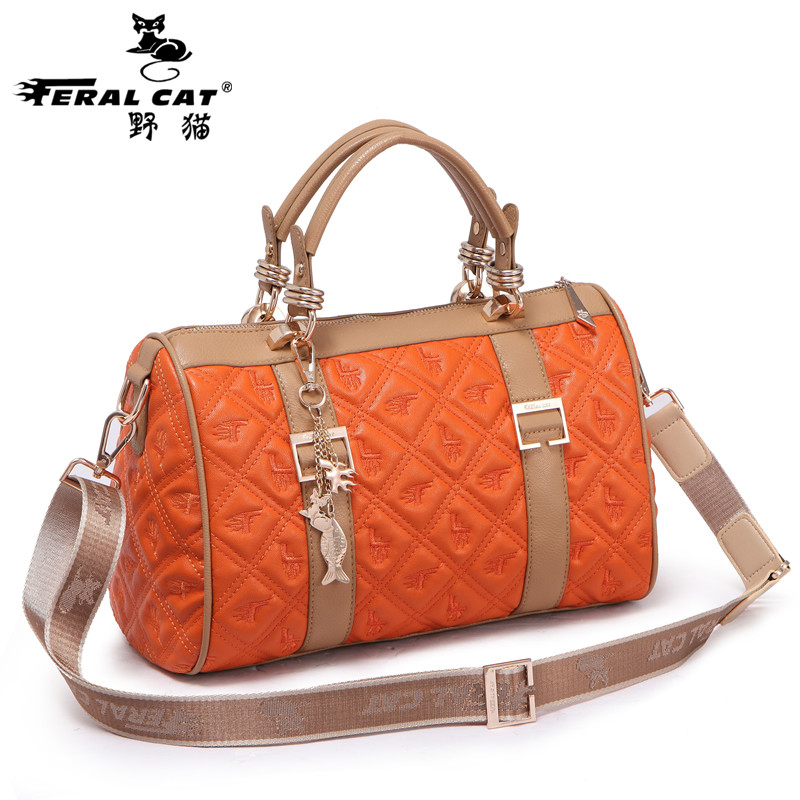 ФОТО Boston Bag 2017 Fashion Designer Famous Brand Women Shoulder Duffel Bags Orange Pink Blue Black Handbags Free Shipping 3202