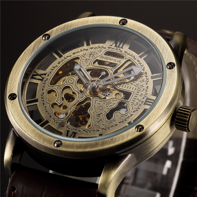 SHENHUA Bronze Automatic Skeleton Mechanical Watch Men 2017 Steampunk Retro Leather Analog Men's Wrist Watches Relogio Masculino shenhua 9587 men s skeleton pu band automatic mechanical analog wrist watch silver black