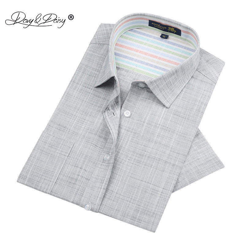 DAVYDAISY High Quality Linen Summer Men Shirt Short Sleeved Simple Solid Brand Clothing Casual Shirt Man DS127