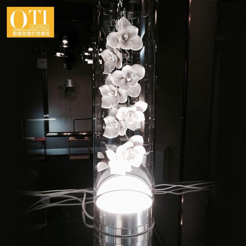 ФОТО OTI Lighting Table Lamp Modern Creative Ceramic Petals Glass Light White 1PCS for Bedroom Living Room Study