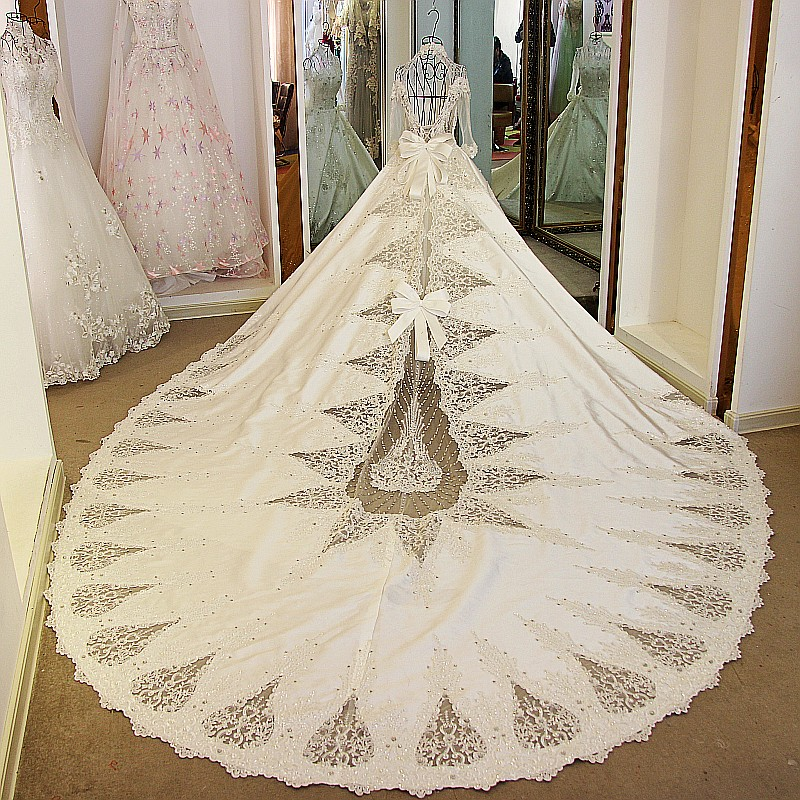 Ball Gown Long Sleeve Beaded Crystal Applique Watteau: Luxury High Neck Long Sleeves Beaded Crystal Appliques