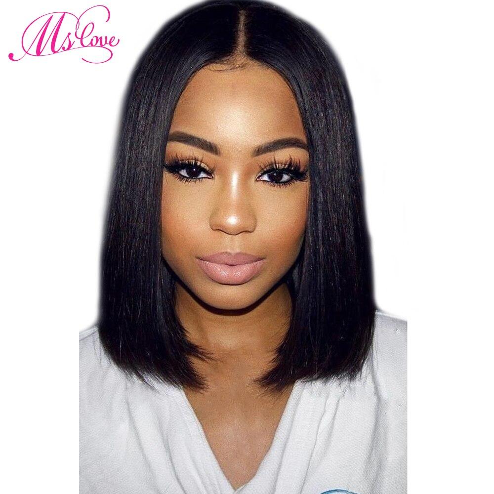 MS любовь короткие парики человеческих волос для черный Для женщин 12 дюймов предварительно сорвал бразильский волосы парик натуральный чер...