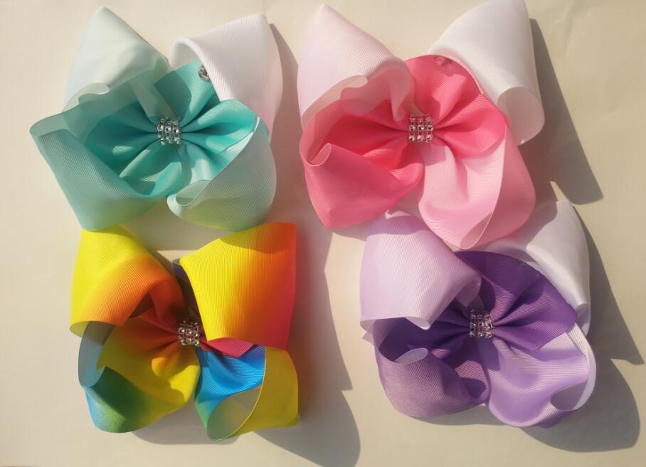 free shipping 2017 Newests 32pcs 8 rainbows hair bows Boutique big rainbows hair bows Girl ABC