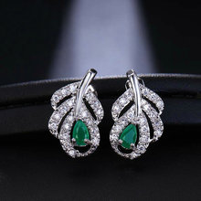 Bilincolor fashion green cubic zirconia korean tiny small earring fasion jewelry for women