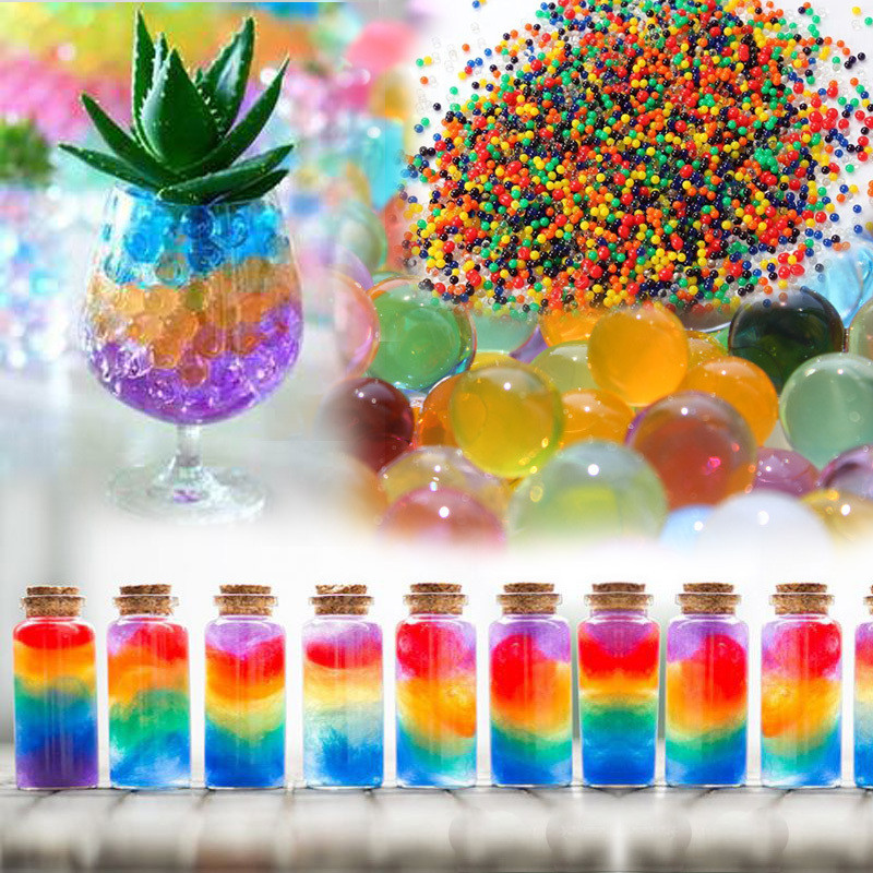 1200 Pcs Crystal Mud Water Beads Pearl Big Bubble Beads Soil Water Beads Hydrogel Ball Grow Magic Jelly Balls Home Decoration
