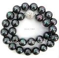 "10 mm negro mar del sur Shell collar de perlas 18 "" AAAxu51"