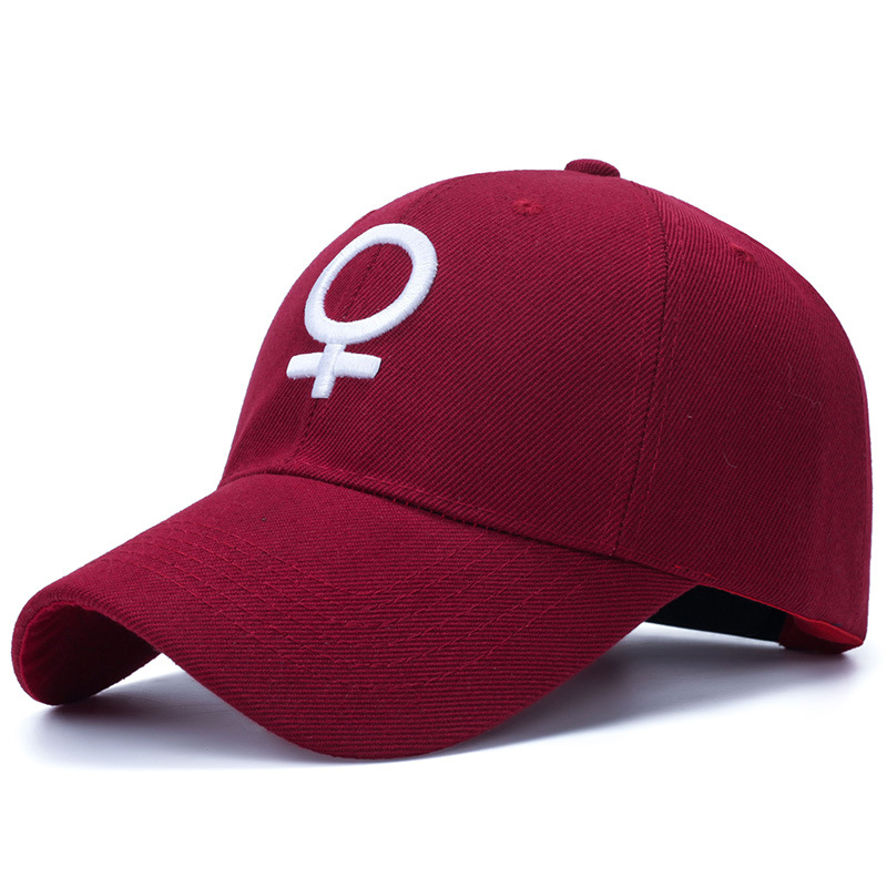 Embroidered Female Symbol Baseball Cap - Red