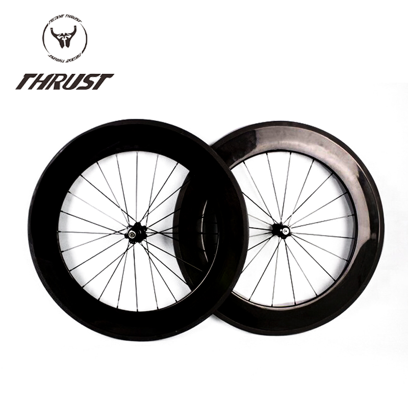 Factory Price 88mm Clincher Tubular Carbon Fiber Road Bike Wheels Bicycle Carbon Wheelset 700c THRUST 125psi Basalt Alloy 700c carbon wheelset 50mm u shape wheels for bicycle 25mm tubular roue carbone pour velo route carbon bicycle wheel basalt brake