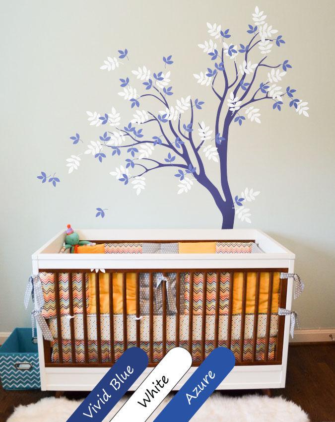 Blue Tree Wall Decal Cute wall tattoo Wall Mural Stickers Nursery Tree 200X125CM