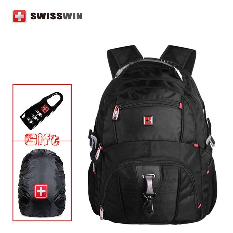 Swisswin mochila style Backpack SW 8112 I Waterproof Backpack Large Capacity 16,5 Laptop Bag male Bagpack Rucksack Black