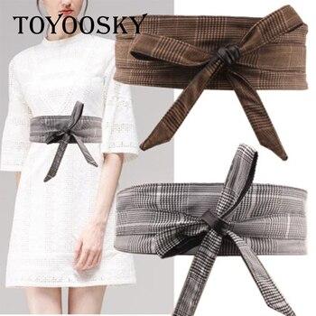 2018 New Arrival Luxury Plaid Women Wide Belt Fabric belt girdle skinny for women TOYOOSKY