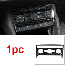 1pc for SKODA KODIAQ Air conditioning control panel Decoration frame Carbon fiber pattern Stainless steel