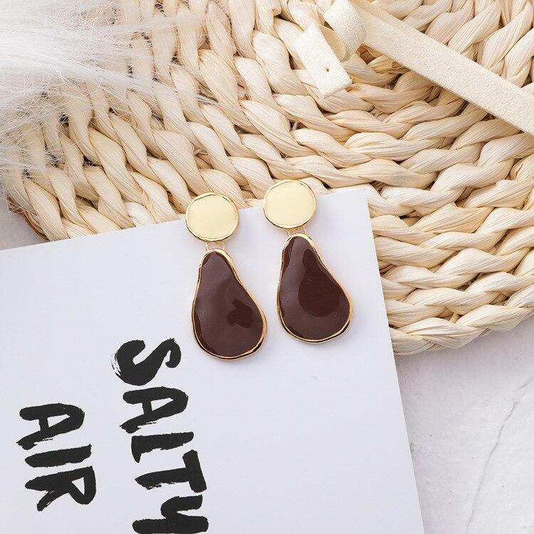 MENGJIQIAO 19 Korean New Vintage Geometric Irregular Square Water Drop Enamel Asymmetric Earrings For Women Fashion Oorbellen 8