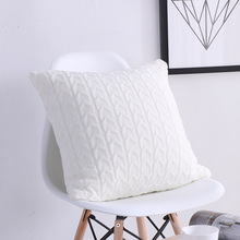 Wool Pillowcase Retro European Style Knit Plain Cushion without Core