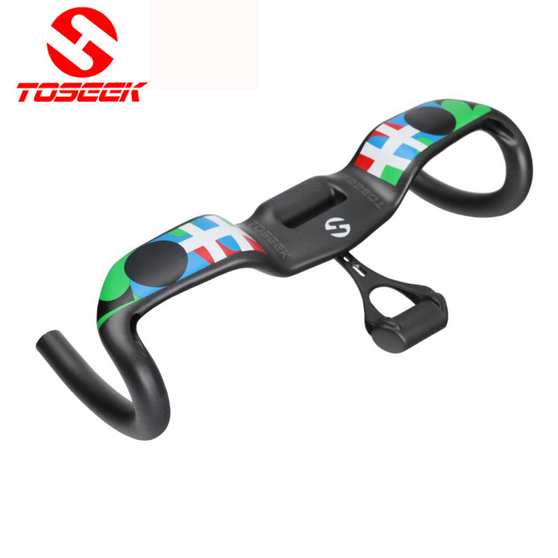 Toseek Full Carbon Fiber Bicycle Handlebar UD Road Bike Drop Handlebar Matte Wind Break Bent bar With Computer holder 31.8mm 2018 road bike carbon handlebar matte glossy 3k handlebar racing cycling bicycle bent bar black reach 70 drop 100