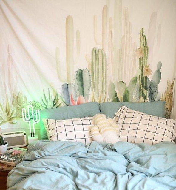 bedroom tapestry. 80X60 Inches Tropical Plant Cacti Watercolor Cactus Tapestry Wall Hanging  for Bedroom Living Room Dorm